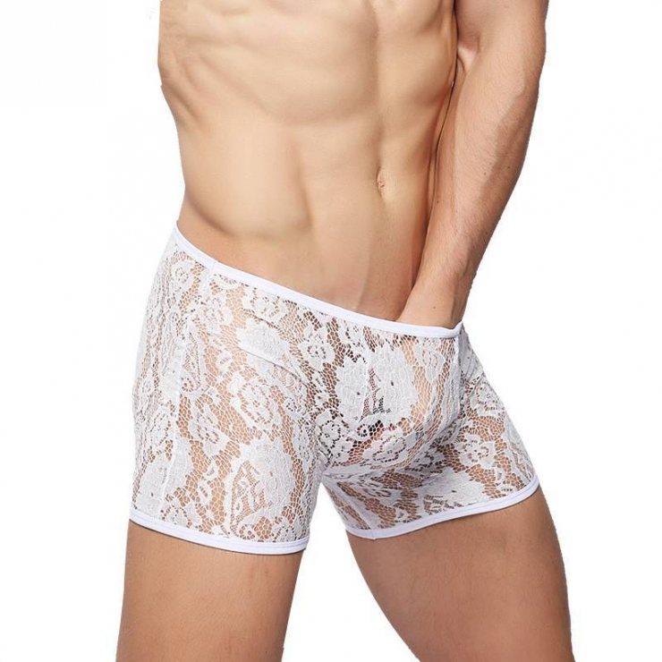 BOXER UOMO IN PIZZO BIANCO SEXY