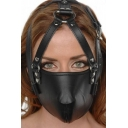 MUSERUOLA IN PELLE NERA CON CINGHIE STRICT LEATHER FACE HARNESS