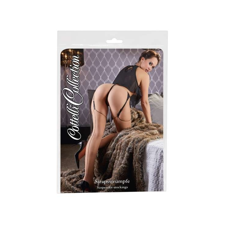 CALZE SEXY VELATE COLOR CARNE CON CUCITURE NERE
