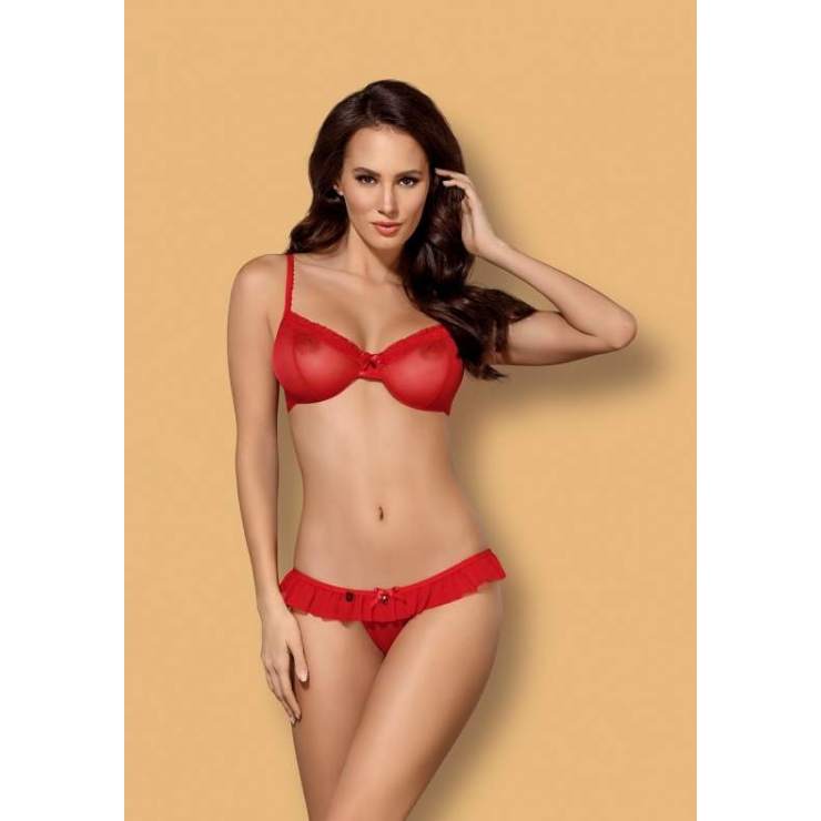 COMPLETO INTIMO SEXY IN TULLE ROSSO 827-SET