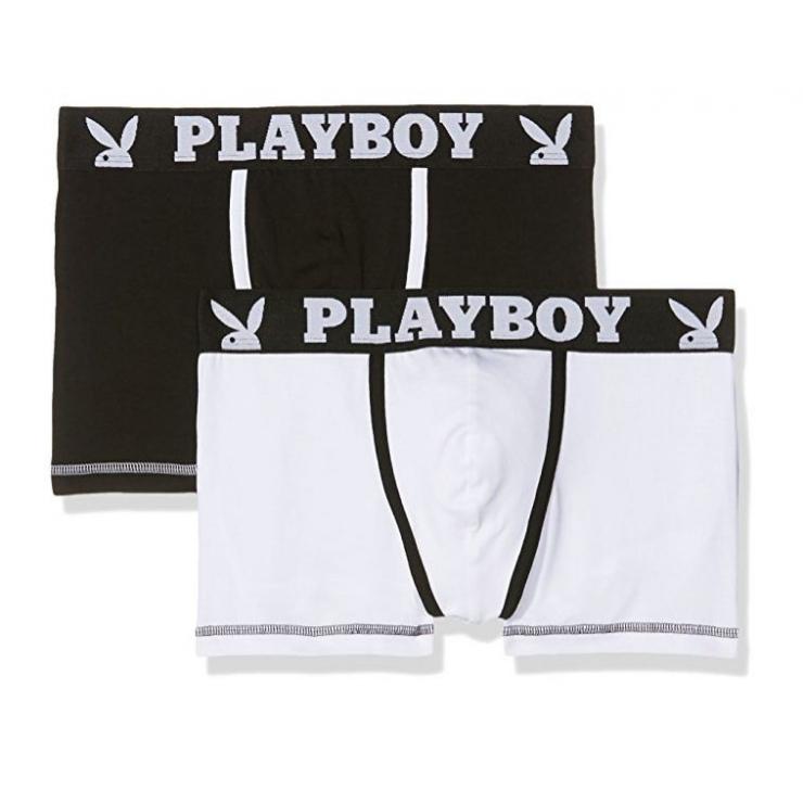 BOXER SEXY PLAYBOY TINTA UNITA NERO-BIANCO