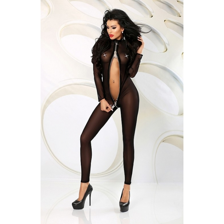 CATSUIT SEXY PER DONNA IN TULLE CON ZIP