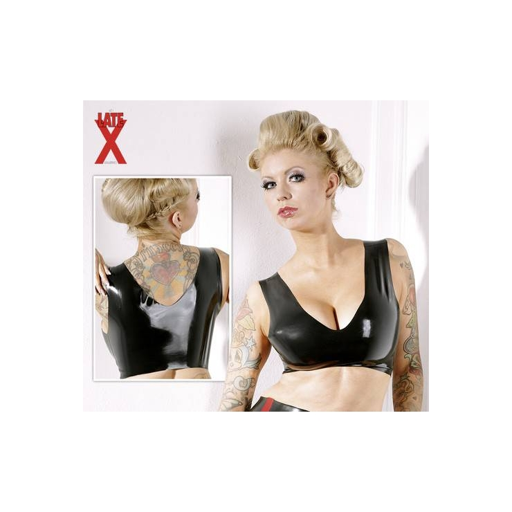 MINIBUSTIER TOP REGGISENO IN LATEX NERO
