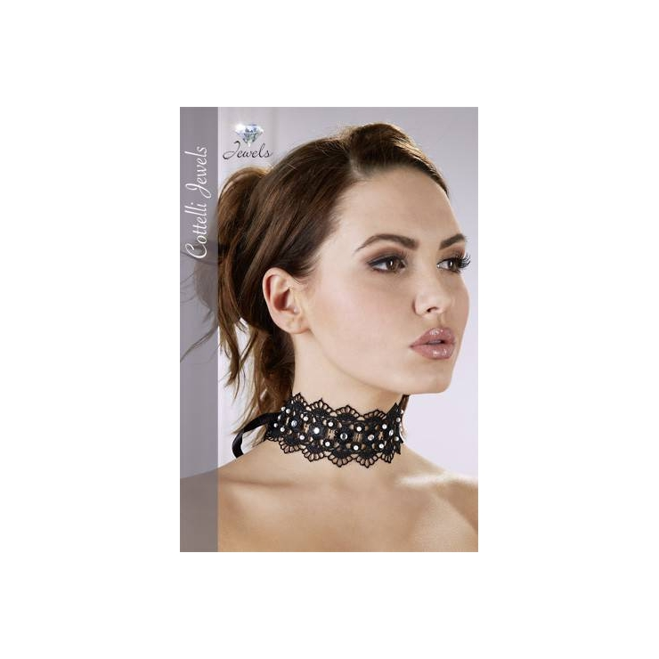 COLLARE SEXY IN PIZZO CON STRASS HALSBAND
