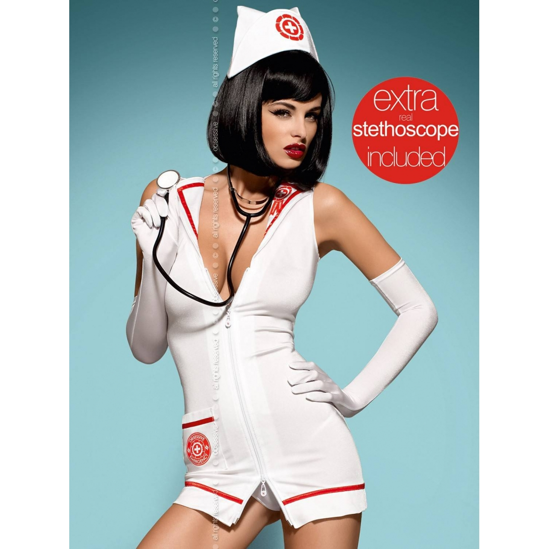 COSTUME INFERMIERA CON STETOSCOPIO EMERGENCY DRESS
